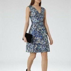 REISS Ice Blue Allium Floral Printed Dress 8